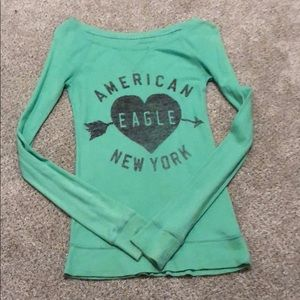 AEO teal wide shoulder long sleeve